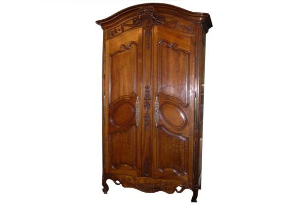 French Louis XV 1730s Walnut Armoire from Provence with Carved Floral Décor