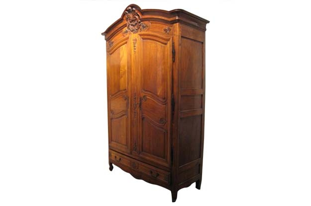 French Louis XV Style, 19th Century Carved Cherrywood Armoire with Four Drawers