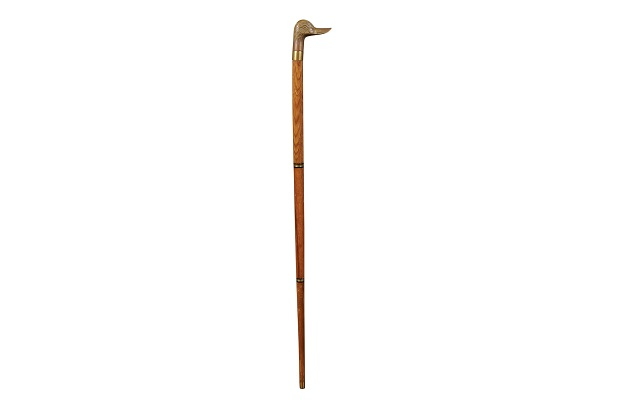 SOLD - English Wooden Walking Cane with Brass Duck Head Handle and Ebonized Accents