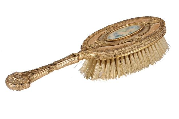 Turn of the Century French Brass Filigree Horsehair Brush with Painted Portrait