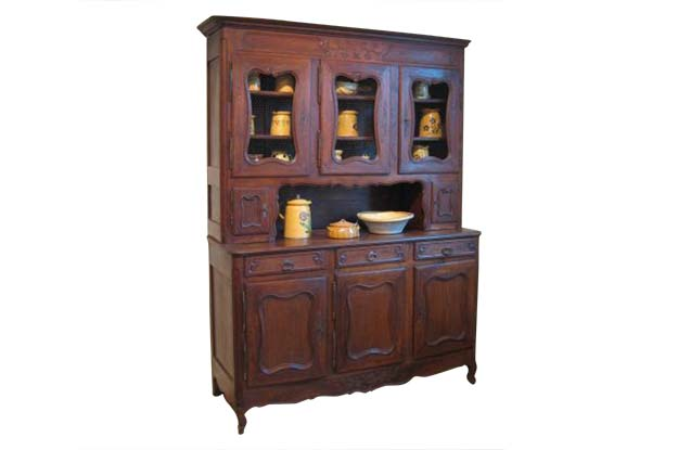 Large Chestnut Buffet Deux Corps with Eight Doors- From Loire Valley