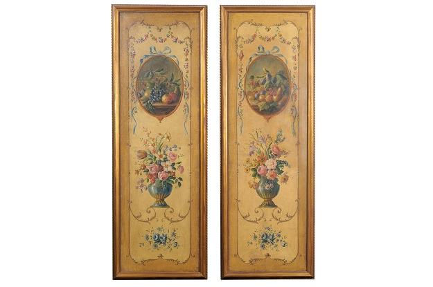 Pair of French 1850s Napoleon III Hand Painted Panels with Fruits and Flowers