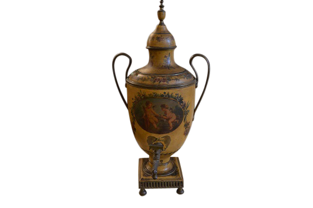 19th Century, French Painted Tole Coffee Pot with Cherub Painted Scene