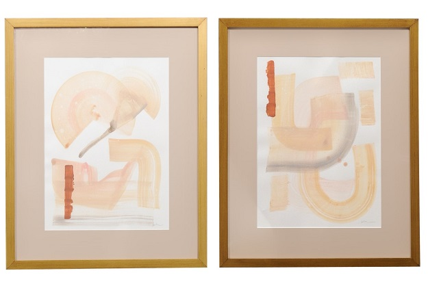 Pair of Contemporary Framed Abstract Paintings on Cold Pressed Watercolor Paper