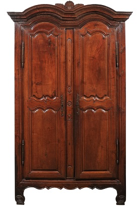 French Wild Cherry Armoire from Rennes, Brittany Dated 1792 at the Cornice