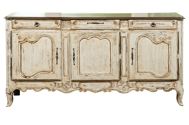 French Louis XV Style Off-White Painted Wood Enfilade with Drawers and Doors