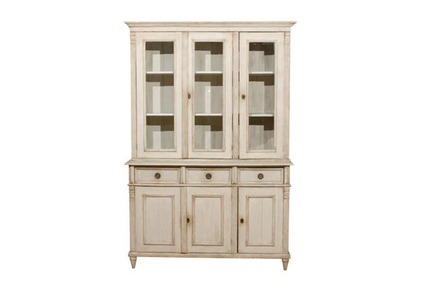 Swedish Neoclassical Style Cupboard from the Late 20th Century with Glass Doors - MIZZ