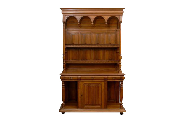 HOLD - French Renaissance Revival Carved Walnut Vaisselier from the Early 19th Century