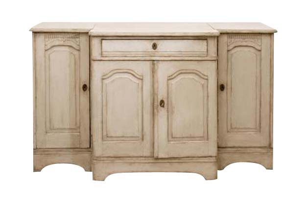 Swedish 1820s Painted Wood Breakfront Enfilade with Single Drawer and Four Doors