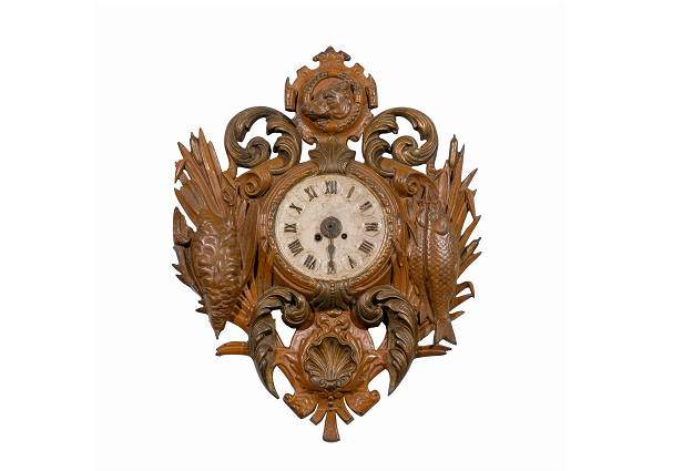 "19th Century French Painted Iron "" Trophy Clock "", Black Forest Style, Fishing and Hunting Depictions-Pent"