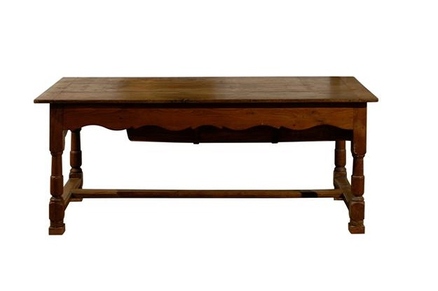French Wooden Pétrin Table With Original Dough Bin And Baluster Legs, Circa  1750