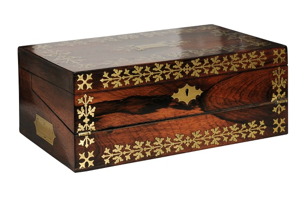 English Rosewood Box with Intricate Brass Motifs and Black Leather Writing Area