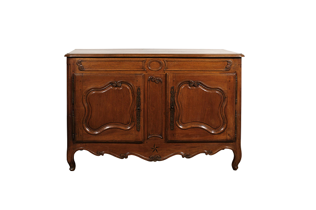 French Louis XV 1750s Provençal Walnut Two-Door Buffet with Scrolled Motifs