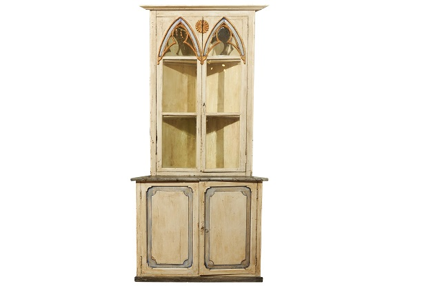 Swedish Gothic Revival Painted Wood Corner Cabinet with Glass Doors, circa 1830