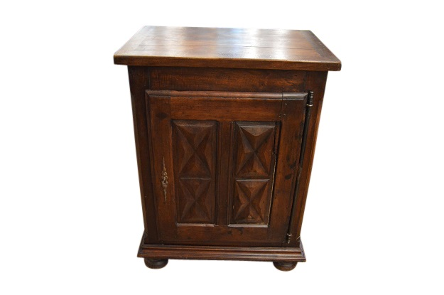 French Louis XIII Style 1850s Dark Walnut Confiturier Cabinet with Single Door