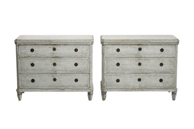 Swedish Pair of Painted Gustavian Chest, Circa 1830  Still in Sweden