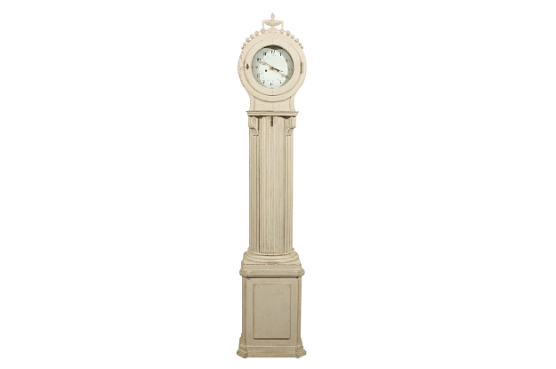 Swedish 1850s Tall Case Column Clock with Original Paint and Carved Crest