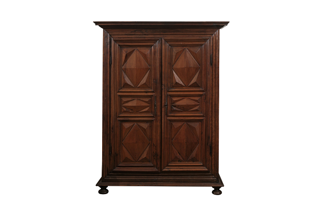 ON HOLD - 1640s French Louis XIII Period Walnut Armoire with Pointes de Diamant Motifs