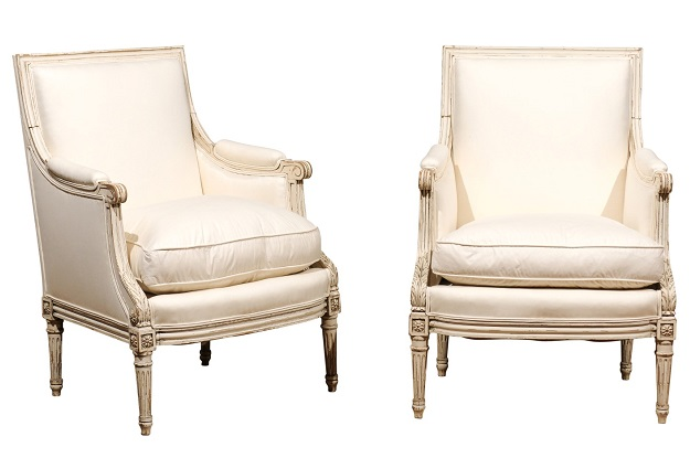 SOLD Pair Of French Louis XVI Style 1910s Bergère Chairs With Light Painted  Finish