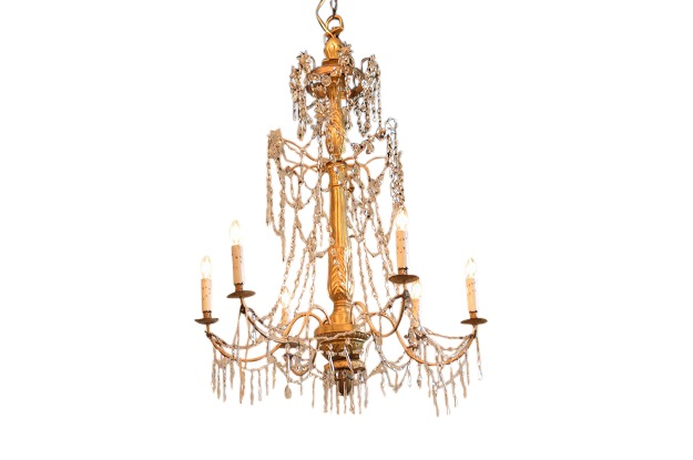 Italian 19th Century Chandelier with a Gilded Center Staff and Waterfall Crystals,