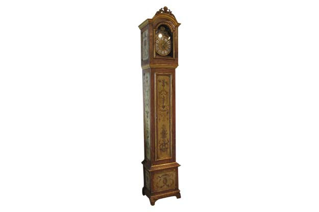 19th century French painted Longcase Clock