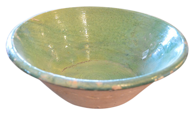 19th Century French Pottery Green Glaze Bowl