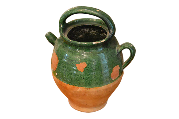 19th Century French Pottery Green Glaze Olive Oil Jug