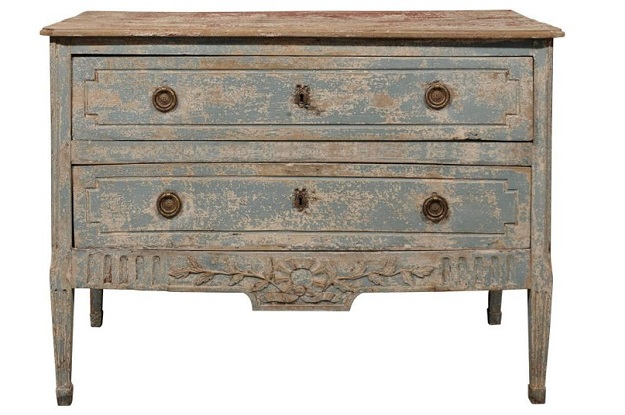 1790s French Louis XVI Period Aqua Painted Two-Drawer Commode with Carved Skirt