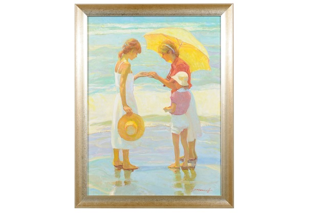 Friends, Don Hatfield Framed Contemporary Vertical Figurative Beach Oil Painting - MIZZ
