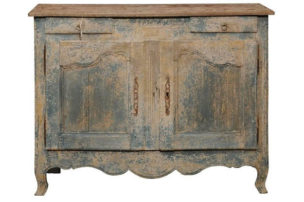 French 1800s Blue Grey Louis XV Style Two-Door Buffet with Distressed Finish