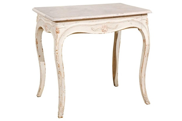 Swedish 1890 Painted Freestanding Side Table with Cabriole Legs and Carved Skirt