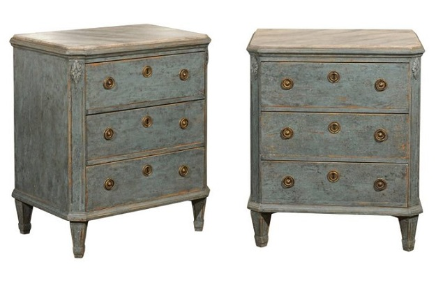 Pair of Swedish 1870s Petite Commodes from Göteborg with Dark Blue Grey Finish