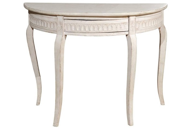 Swedish Painted Wood Demilune Console Table from Småland with Drawer, circa 1850
