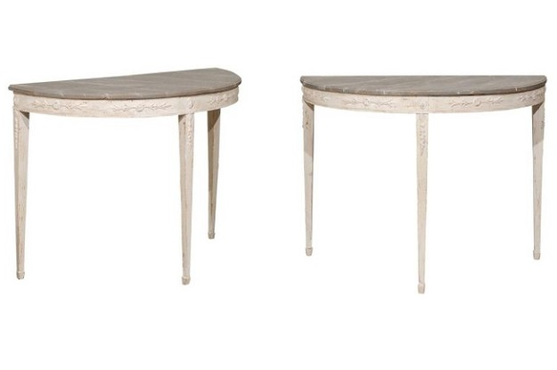 ON HOLD - Pair of Swedish Period Neoclassical Painted Demilune Console Tables, circa 1810