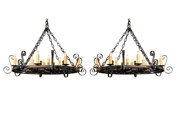 Two French Circular 12-Light Iron Chandeliers with S-Scrolls from the 1890s