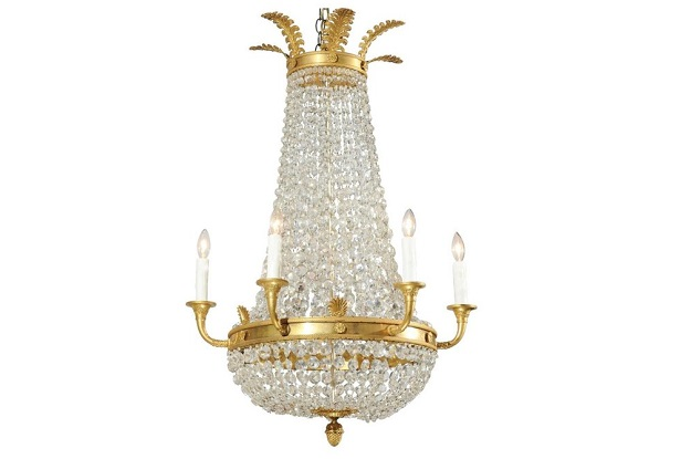 French Empire Style Crystal and Gilt Metal Waterfall Basket Six-Arm Chandelier
