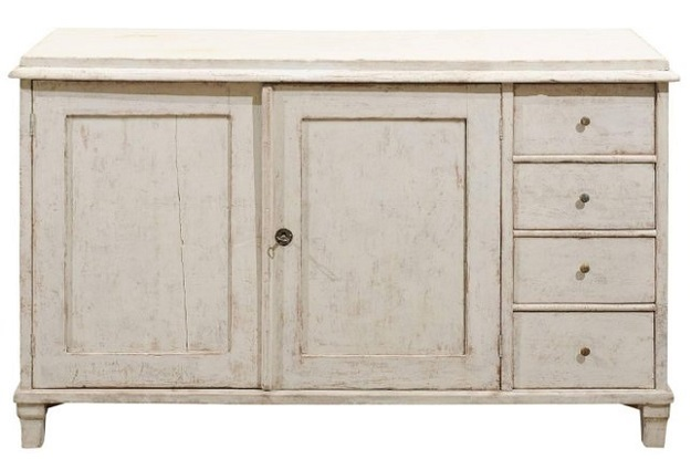 Swedish Painted Sideboard, circa 1850 with Two Doors and Four Drawers
