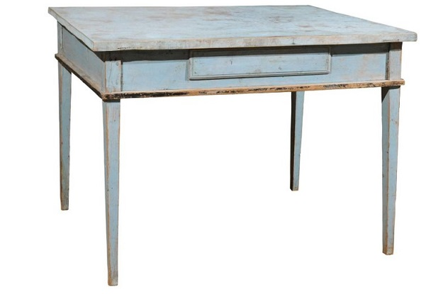 Swedish Neoclassical Style 1830s Soft Blue Painted Side Table with Tapered Legs