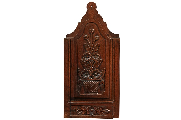 SOLD - French 19th Century Carved Walnut Farinerio Decorative Box with Floral Décor