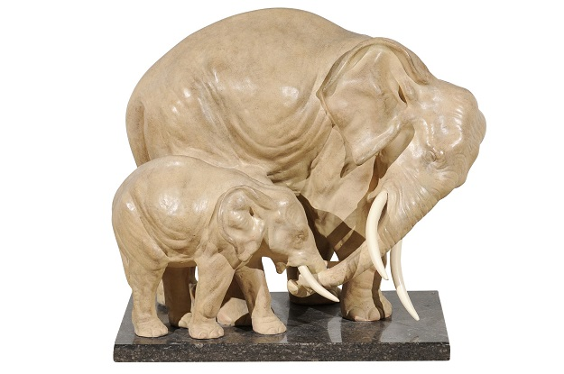 French 1910s Terracotta Sculpted Group of Elephants Mounted on Marble Base