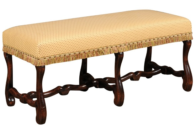French Louis XIII Style Upholstered Bench with Os De Mouton Legs, circa 1860