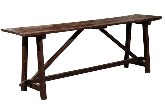 French Late 18th Century Walnut Sofa Table with Trestle Base and Great Patina