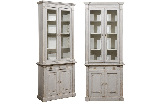 French Neoclassical Style 19th Century Grey Painted Bookcases wit