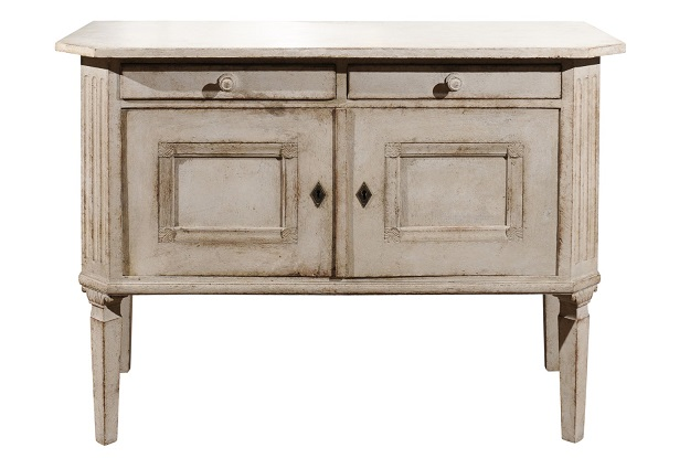 Swedish 1890 Painted Sideboard with Two Drawers, Two Doors and Fluted Side Posts