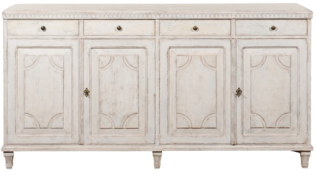 SOLD - Swedish 1880s Painted Sideboard with Carved Motifs, Four Drawers over Four Doors