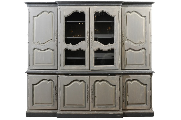 French Grey Painted Louis XV Style Two-Part Bibliothèque Custom-Made in 1978