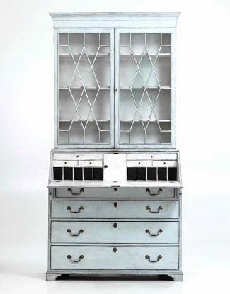 Swedish 18th Century Two Part Secretary With Glass Doors Circa 1790