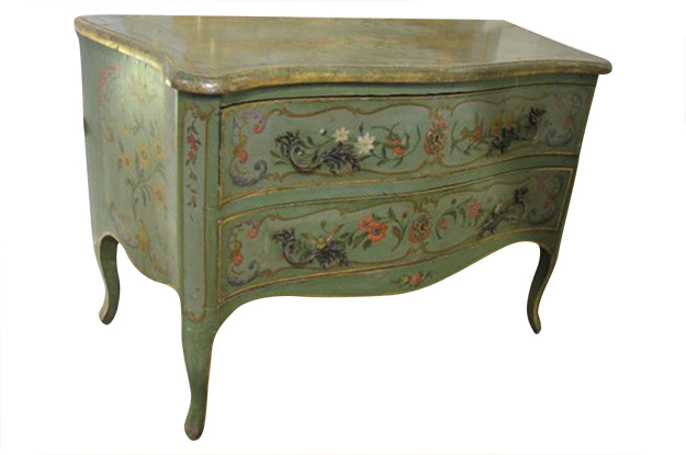 Italian Rococo Style Soft Green Painted Two-Drawer Commode with Pastoral Theme