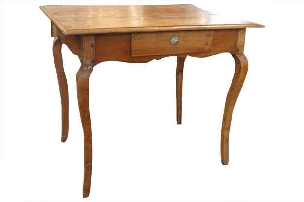 French 19th Century Cherry Table with one drawer Louis XV Mizz