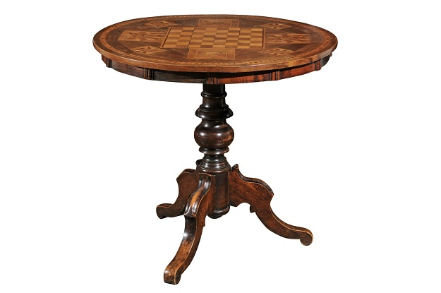 Italian 19th Century Louis-Philippe Style Guéridon Table with Marquetry Decor